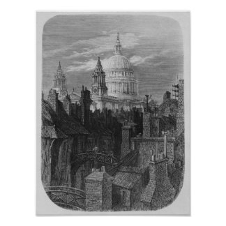 St. Paul's Cathedral and the slums Poster
