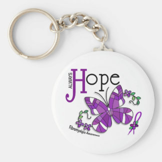 Stained Glass Butterfly Fibromyalgia Basic Round Button Key Ring