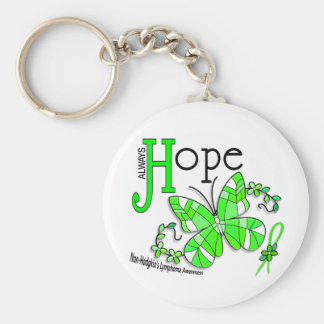 Stained Glass Butterfly Non-Hodgkins Lymphoma Basic Round Button Key Ring