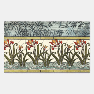 Stained Glass Flowers with Tan Border Rectangular Sticker