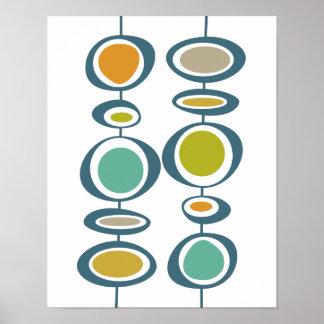Stalk Circles Mid Century Modern Styled Poster