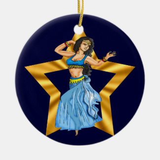 Star Belly Dancing Girl Round Ceramic Decoration
