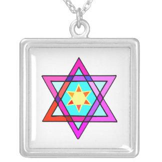 Star Of David Square Pendant Necklace