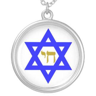 STAR OF DAVID & SYMBOL OF LIFE ROUND PENDANT NECKLACE