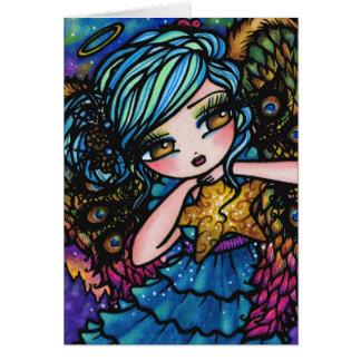 Star of Wonder Peacock Angel Christmas Fantasy Greeting Card