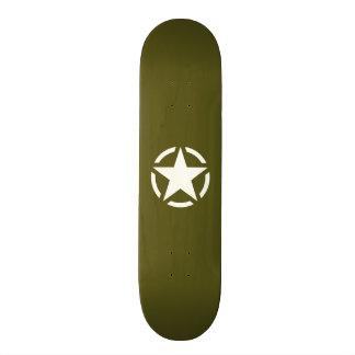 Star Stencil Vintage on Khaki Green Skate Board Decks