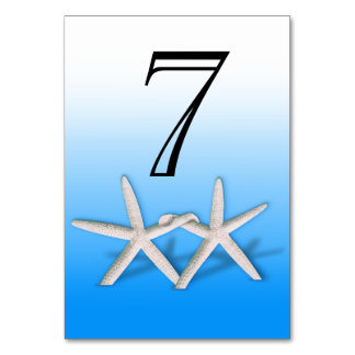 Starfish Couple On The Beach Numbers | ombre blue Table Cards