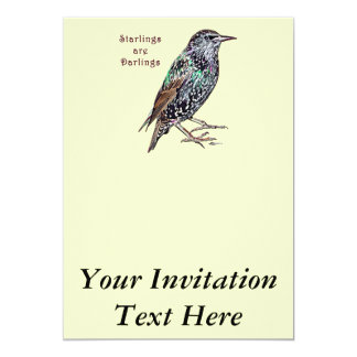 Starlings Are Darlings 13 Cm X 18 Cm Invitation Card