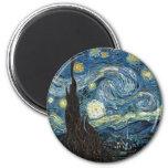 Starry Night 6 Cm Round Magnet