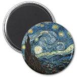 Starry Night by Vincent Van Gogh 6 Cm Round Magnet