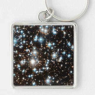 """""""Stars 2"""" Silver-Colored Square Key Ring"""
