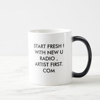 START FRESH !WITH NEW U RADIO ,ARTIST FIRST. COM MORPHING MUG