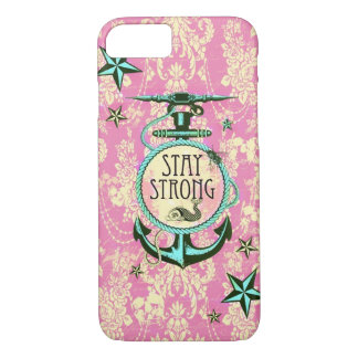 Stay strong nautical anchor art in retro style. iPhone 7 case