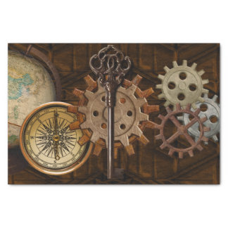 "Steampunk Gears on Coppery-look Geometric Design 10"" X 15"" Tissue Paper"