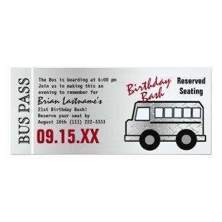 Steel Design 21st Birthday Party Bus Pass 10 Cm X 24 Cm Invitation Card