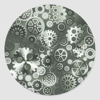 Steel metallic gears round sticker