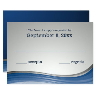 Steel Wave Blue and Silver 2 RSVP 9 Cm X 13 Cm Invitation Card