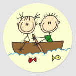 Stick Figure Boat Fishing Tshirts and Gifts Round Sticker