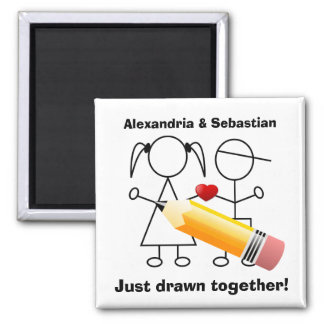 Stick Figure Couple With Heart Drawn Together Square Magnet