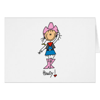 Stick Figure Cowgirl in Pink Hat/Boots Cards
