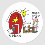 Stick Figure Farm Animals Round Sticker