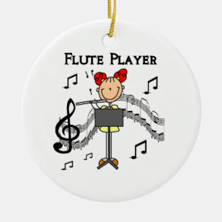 Stick Figure Girl Flute Player Tshirts and Gifts Round Ceramic Decoration