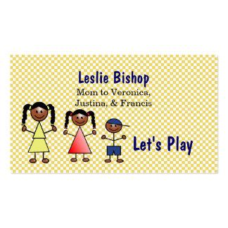 Stick Figure Kids Custom Mommy Card Pack Of Standard Business Cards