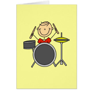Stick Figure Male Drummer T-shirts and Gifts Note Card