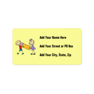 Stick Kids With Pencil Address Label