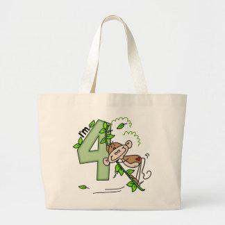 Stick Monkey Swing 4th Birthday Jumbo Tote Bag