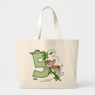 Stick Monkey Swing 5th Birthday Jumbo Tote Bag