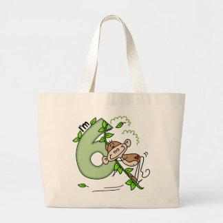 Stick Monkey Swing 6th Birthday Jumbo Tote Bag