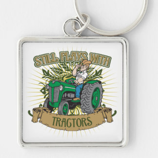 Still Plays With Green Tractors Silver-Colored Square Key Ring
