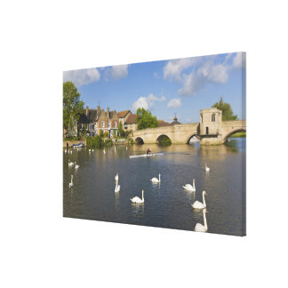 Stone arched bridge and River Ouse, St Ives, Stretched Canvas Print