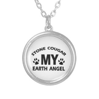 STONE COUGAR CAT ROUND PENDANT NECKLACE