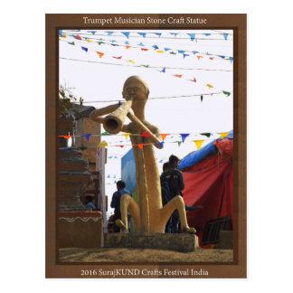 stone craft statue of street musician festivals postcard