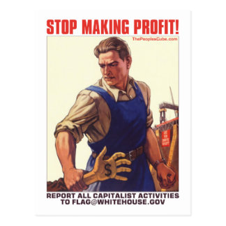 Stop Making Profit - Report Capitalists: Postcard