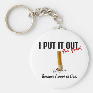Stop Smoking I Put It Out I Want To Live Basic Round Button Key Ring