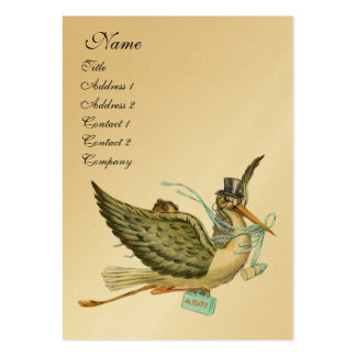 STORK BABY SHOWER, gold metallic Pack Of Chubby Business Cards