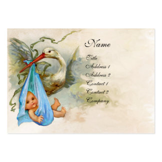 STORK BABY SHOWER  white pearl paper Pack Of Chubby Business Cards