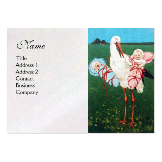 STORK TWIN BABY SHOWER , white pearl paper Pack Of Chubby Business Cards