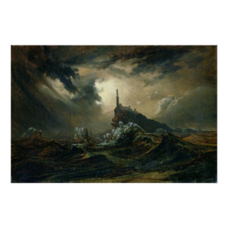 Stormy sea with Lighthouse Poster