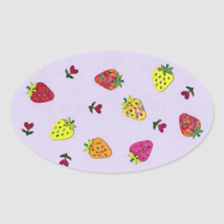 strawberries and hearts oval sticker