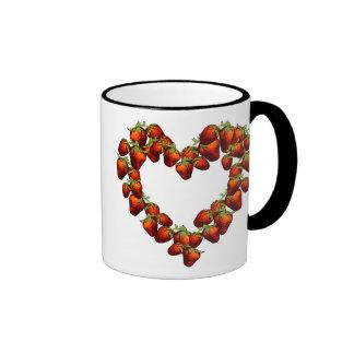 Strawberry Heart Ringer Mug