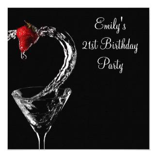 Strawberry Martini Cocktail Birthday Party 13 Cm X 13 Cm Square Invitation Card
