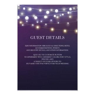 String Light Evening Wedding Guest Information 9 Cm X 13 Cm Invitation Card