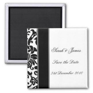 Striped black white and grey damask Wedding set Square Magnet