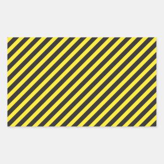 Striped Construction - Yellow & Black Diagonal Rectangular Sticker