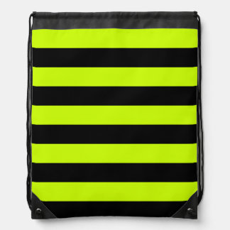 Stripes - Black and Fluorescent Yellow Backpack