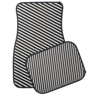 Stripes Pattern black & white Floor Mat